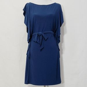 MSK Navy Blue Belted Dress with Ruffle Detail | XL